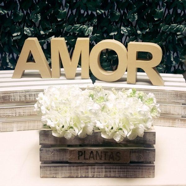 amor sobre cajas y flores