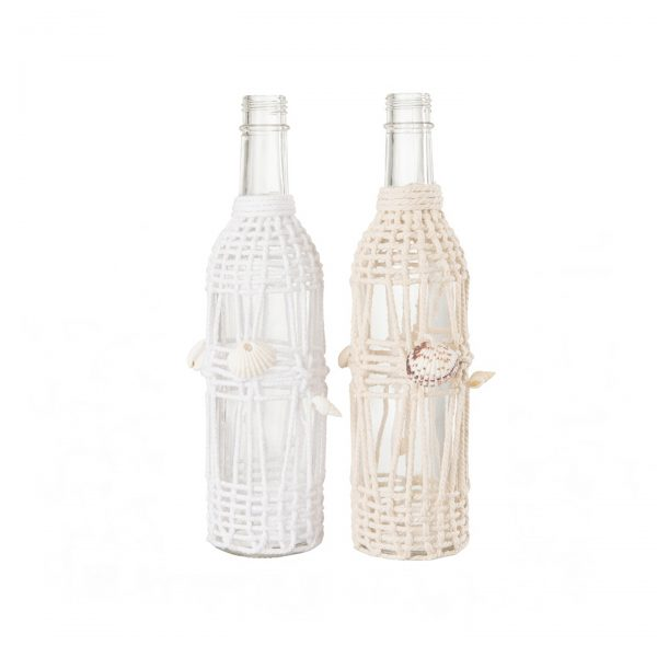 botellas macrame conchas