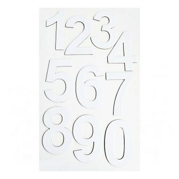 numeros blancos cartón