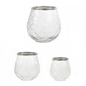 portavela cristal borde plata