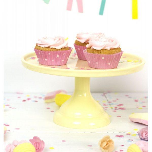 stand amarillo 23 cm para tartas cupcakes