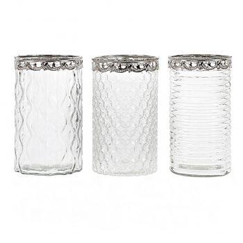 portavela cristal cilindro borde plata