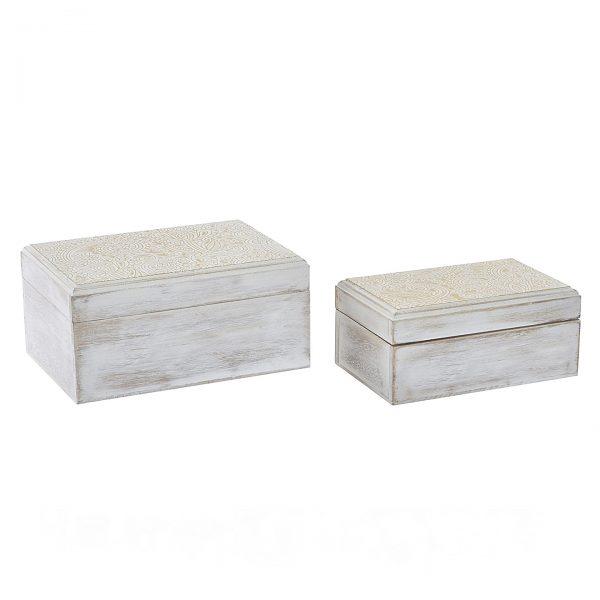 set cajas diseño boho dorado