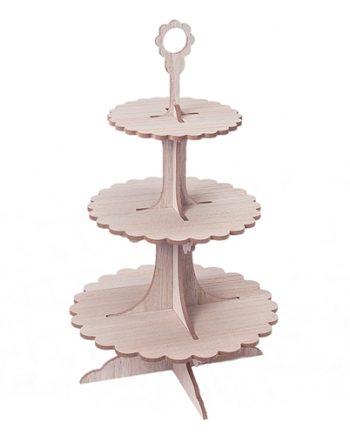 expositor pasteles madera 3pisos