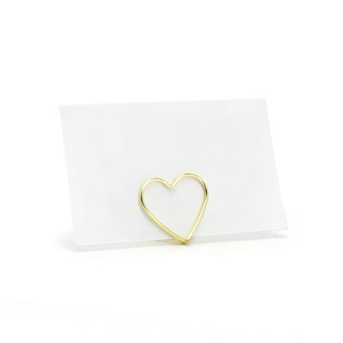 soporte metalico tarjetas corazon dorado s