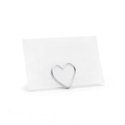 soporte metalico tarjetas corazon plateado s